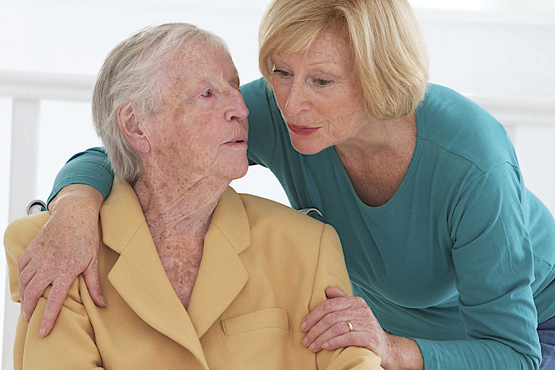 Elderly couple talking
