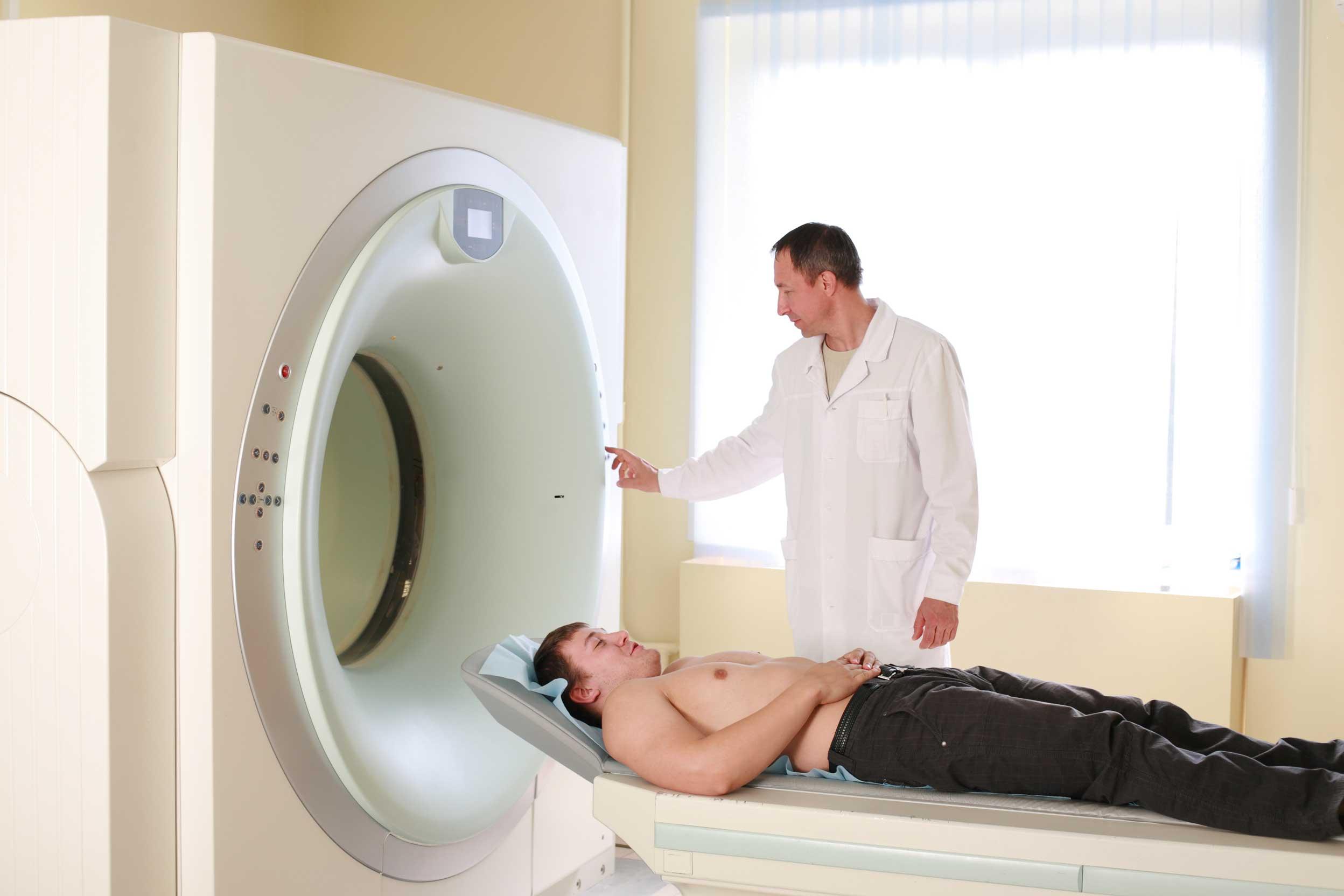 Patient preparing for CAT Scan