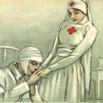 Kissing the Nurse's Hands, Italian postcard image, est. 1915-1925