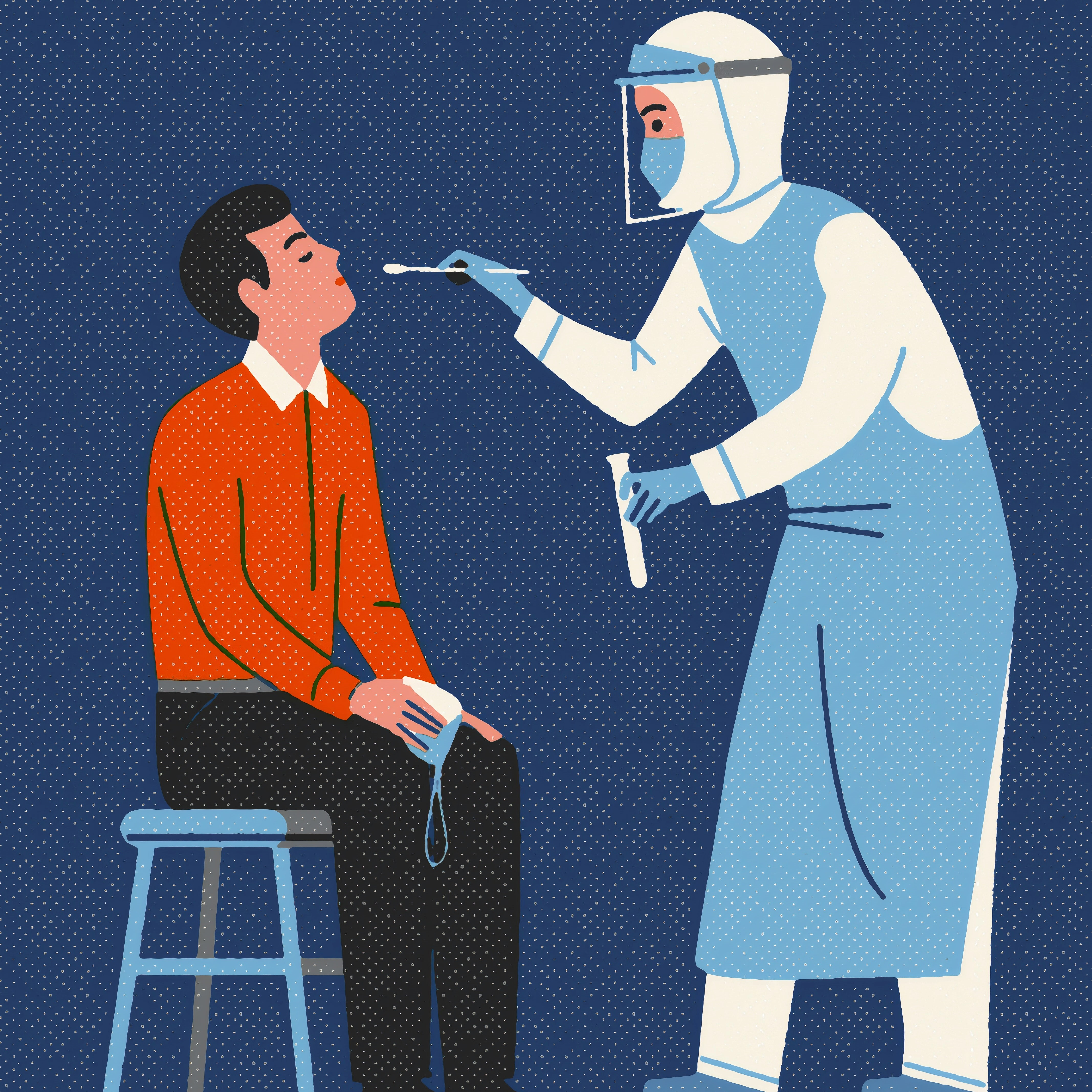 SWAB TEST. Patient and medical supervisor preparing for a COVID-19 nasal swab test. Image created by Russell Tate.