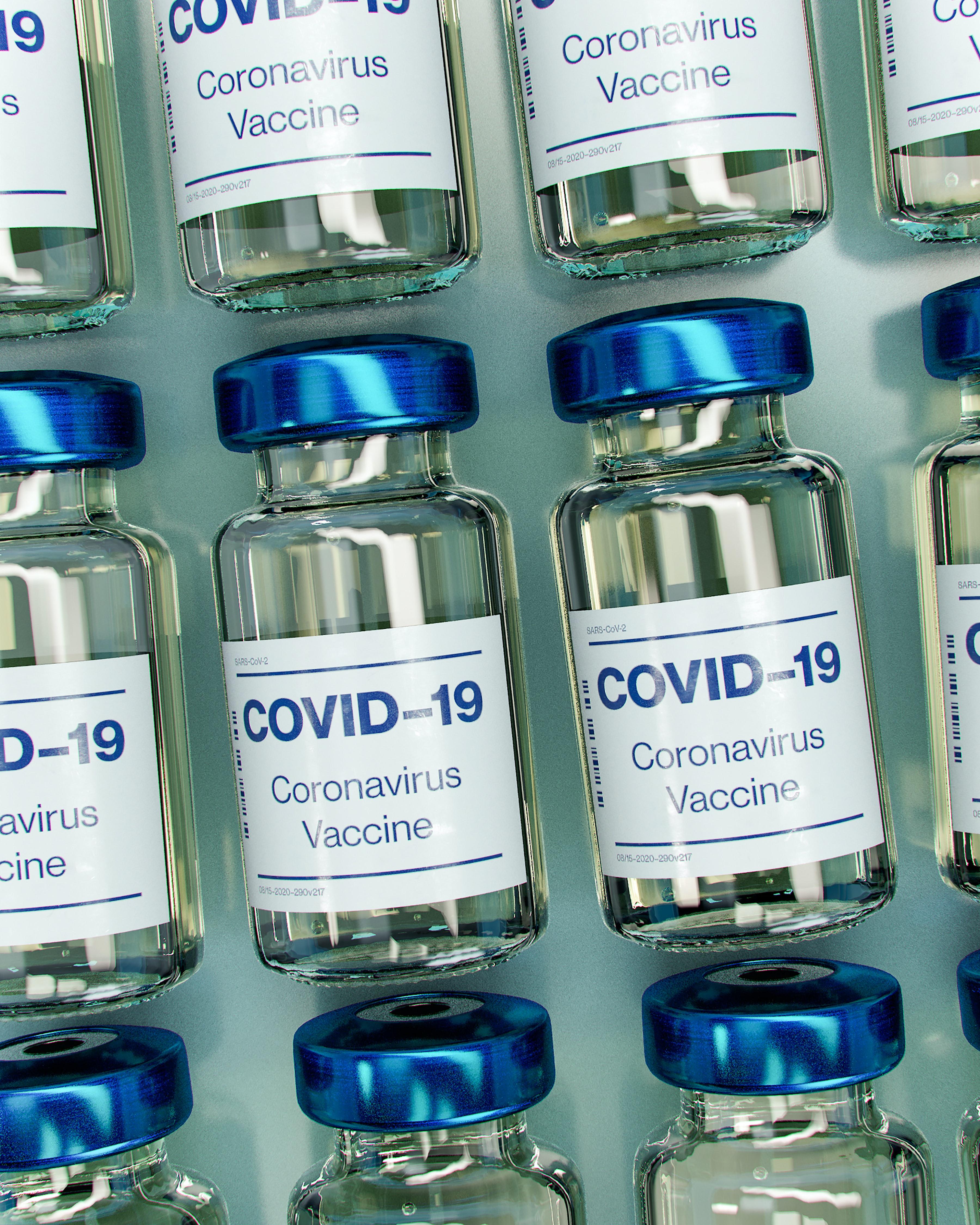 Covid-19 vaccine vials, artistic representation